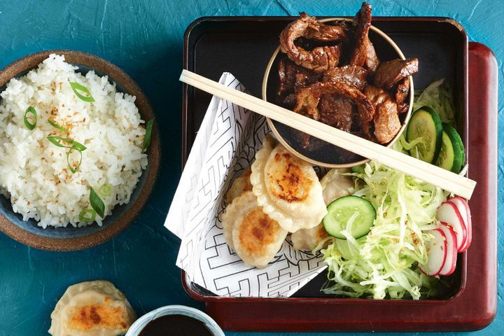 teriyaki-beef-and-gyoza-bento-box-dinner recipe