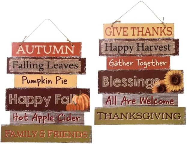 Greenbrier Fall Decoration Hanging Indoor Outdoor Welcome Wood Sign (Small)