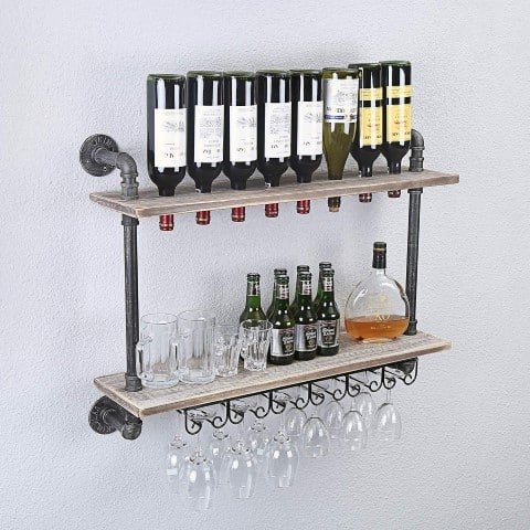 Industrial Rustic Wall Mounted Wine Racks - kitchen decor ideas (Small)