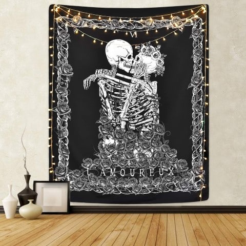 Skull Tapestry The Kissing Lovers Tapestry Black Tarot Tapestry - horror kitchen decor ideas (Small)