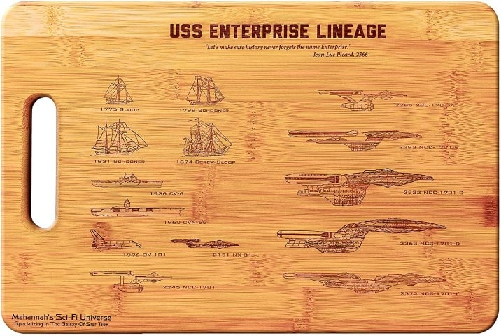 Star Trek USS Enterprise Legacy- Large Bamboo Cutting Board, - fun kitchen decor ideas (Small)