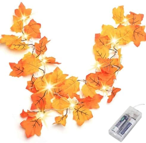 Thanksgiving Decorations Lighted Fall Garland, (Small)