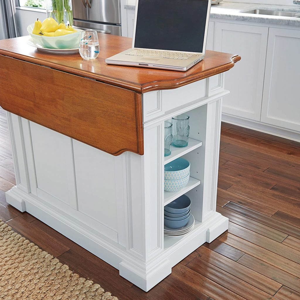 Americana White & Distressed Oak Kitchen Island with drop-leap table by Home Styles