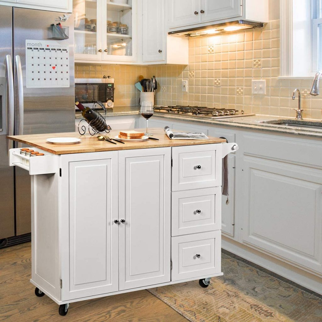 Giantex Kitchen Island Cart with Drop-Leaf Table
