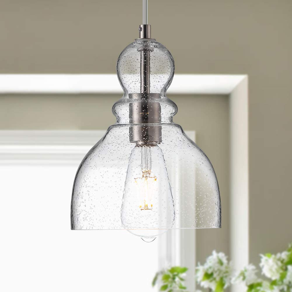 LANROS Farmhouse Kitchen Pendant Lighting with Handblown Clear Seeded Glass Shade