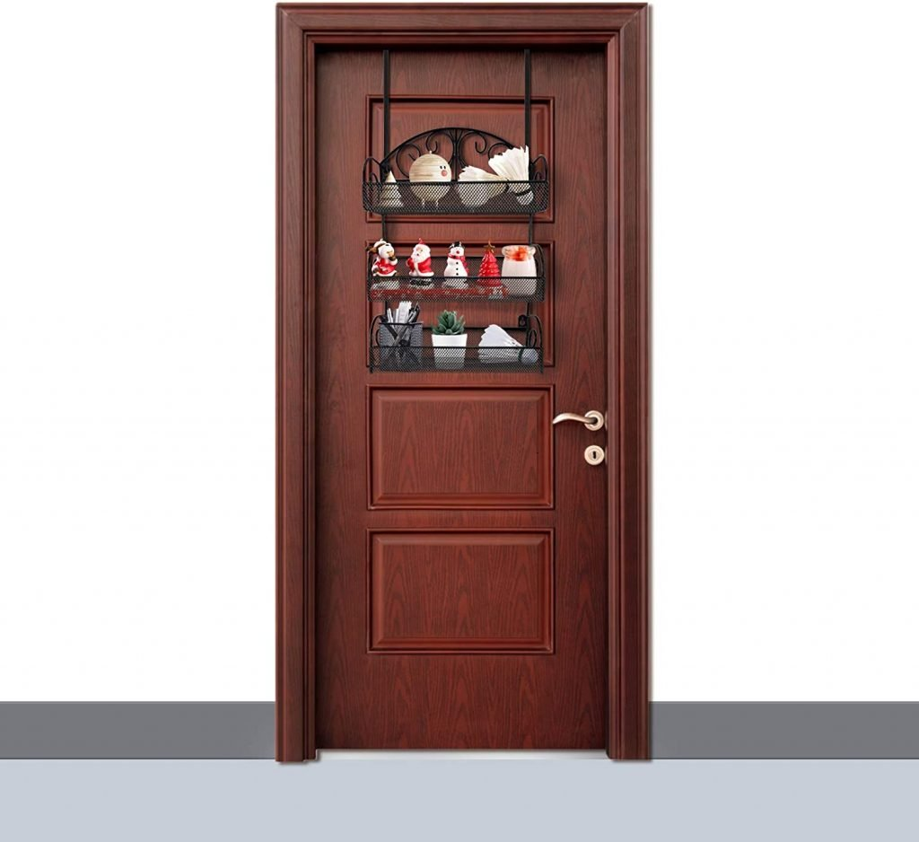 Over The Door Tier Metal Spice Rack Organizer with 2 Hooks for Kitchen