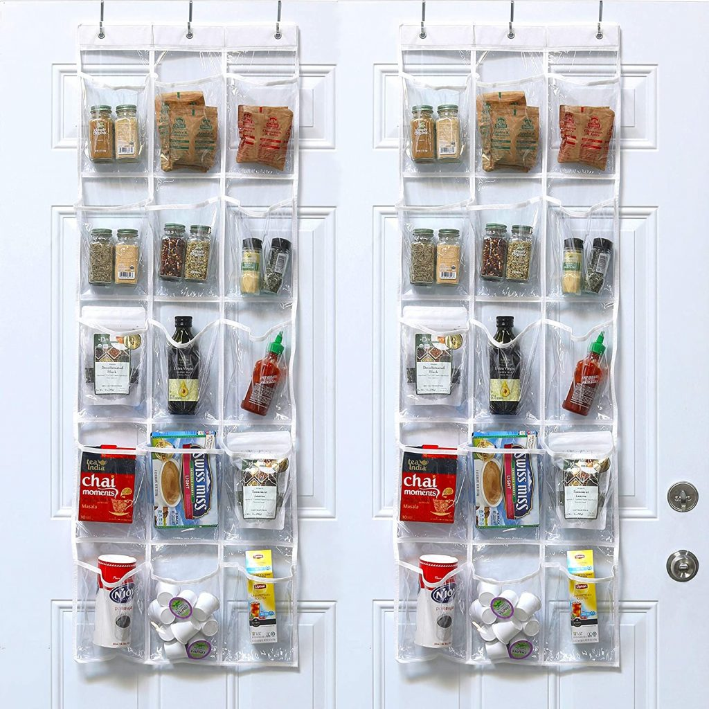 SimpleHouseware Crystal Clear Over the Door Hanging Pantry Organizer