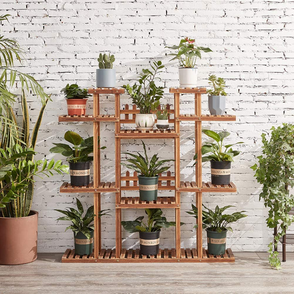 large Wooden Plant Stand for Indoor & Outdoor
