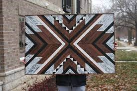 Geometric Wood Wall Hanging - online woodworking courses for beginners (Small)